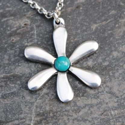 Jasmine flower pendant necklace with turquoise gem P22